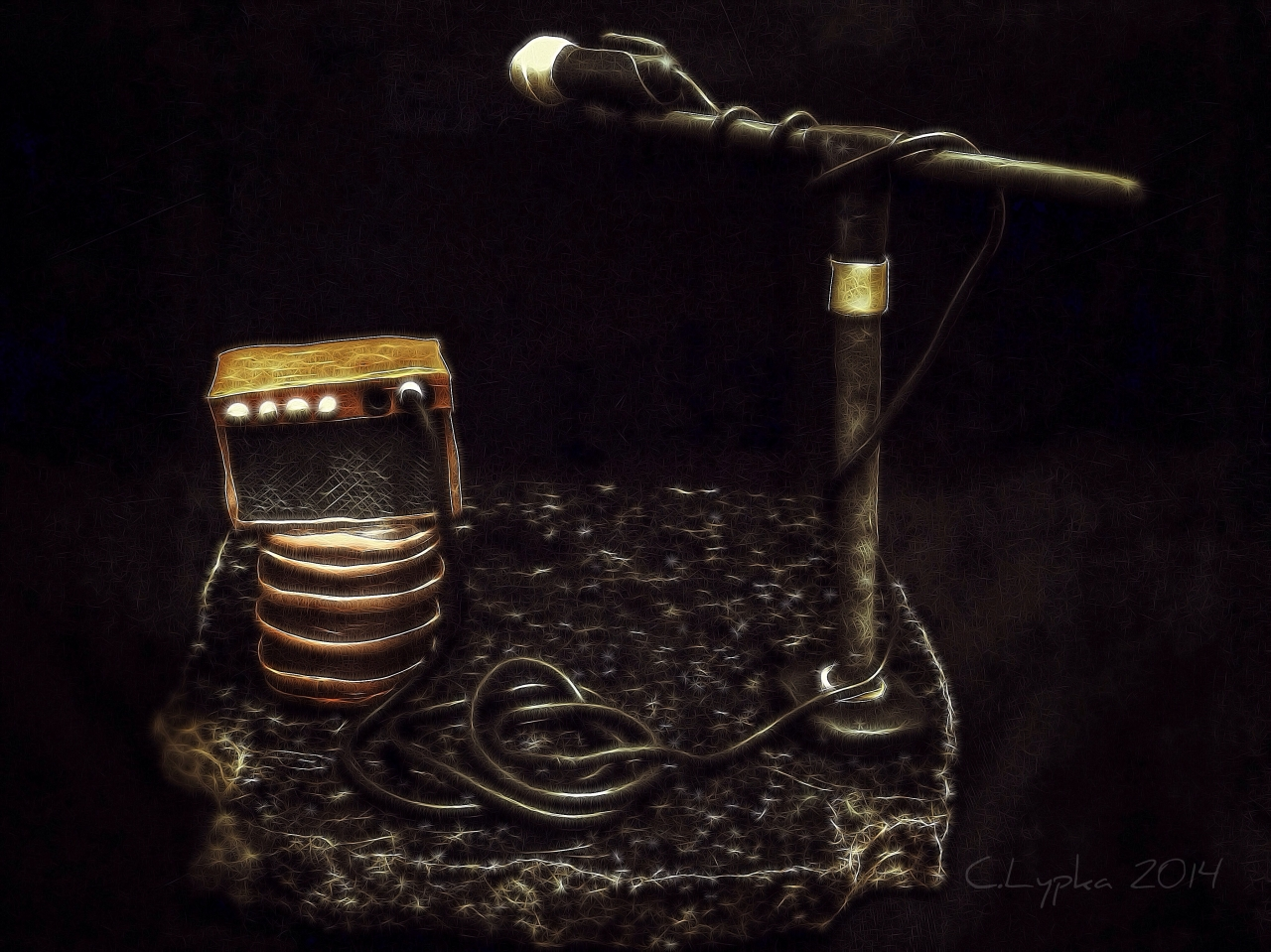 Amp, microphone, cord, and barrel all made from clay.