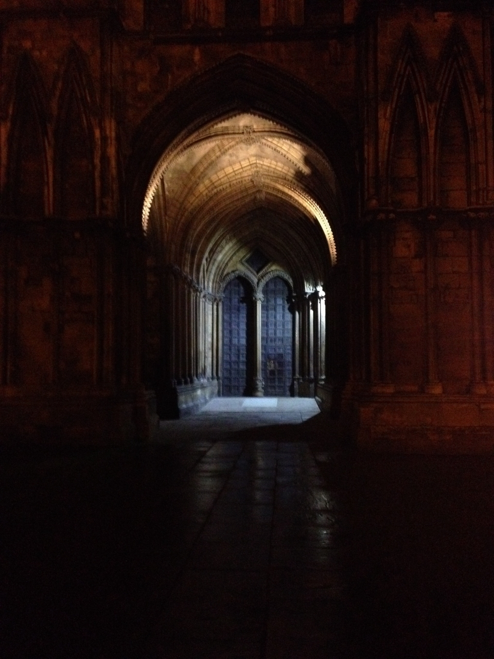 Taken at night. Lincoln cathedral back entrance