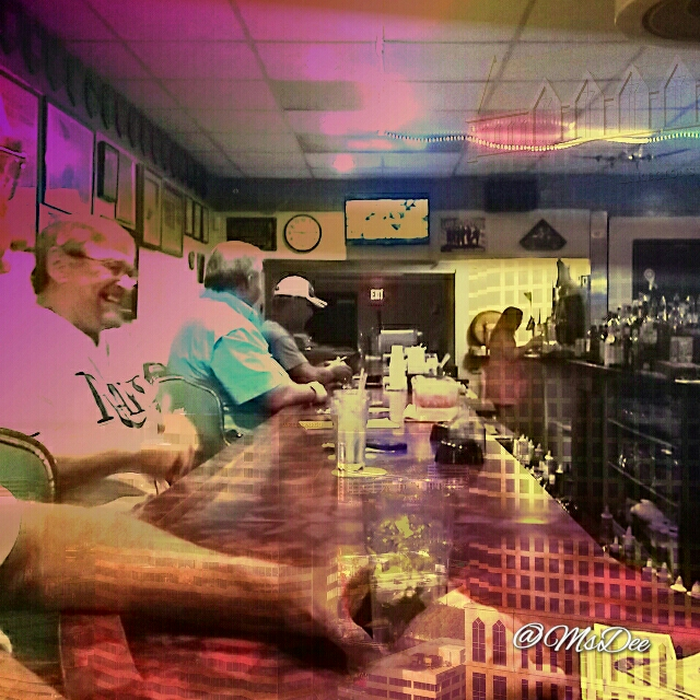 Double exposure with Diana Camera on Note 3 - Stopped at the VFW to drop off the newsletter, the...