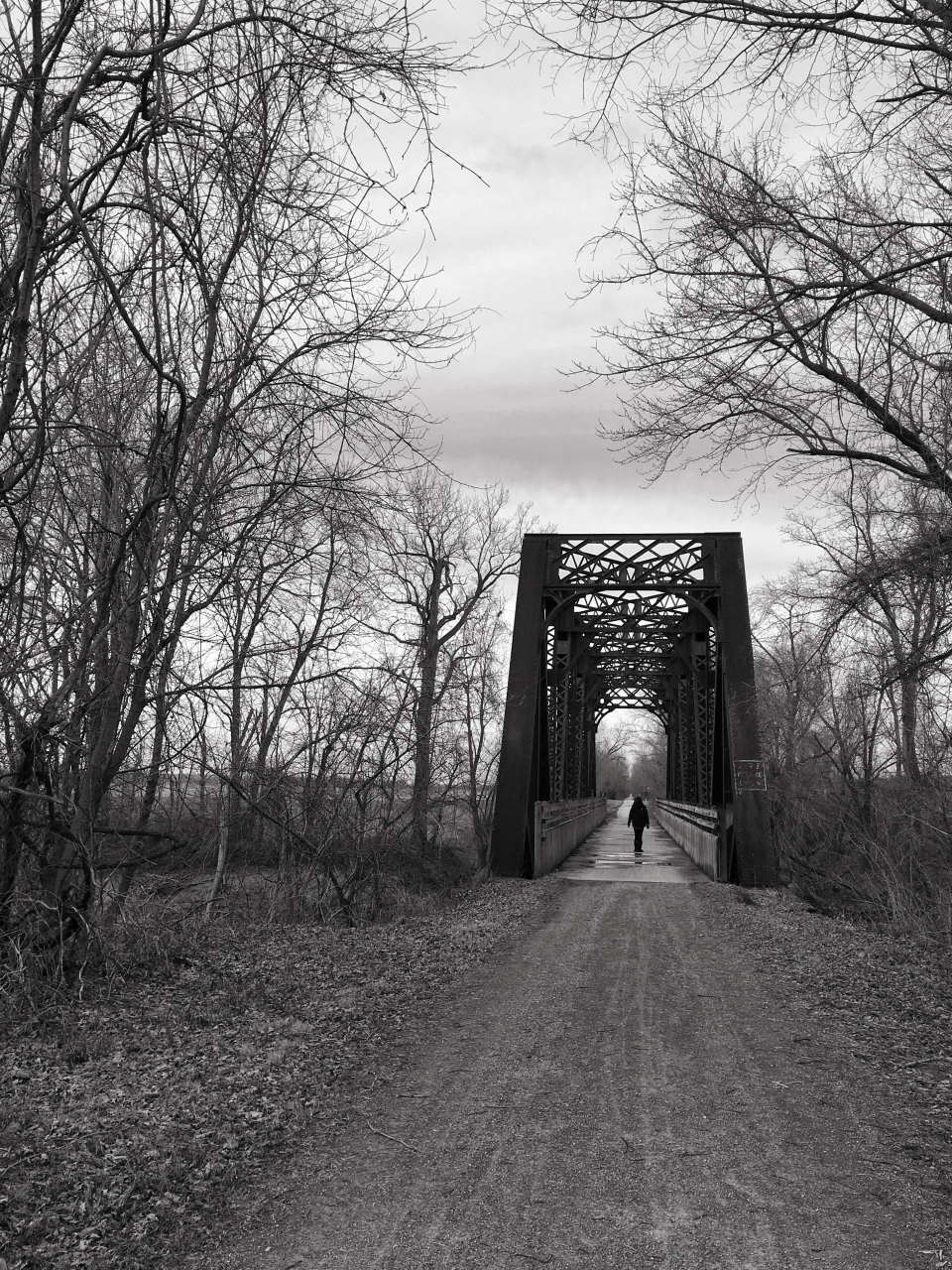 Old railroad bridge over Perch Creek near McBane, MO. Now part of the Katy Trail.