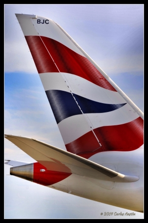 Proud colors of the British Airways on the tail of a 787-8